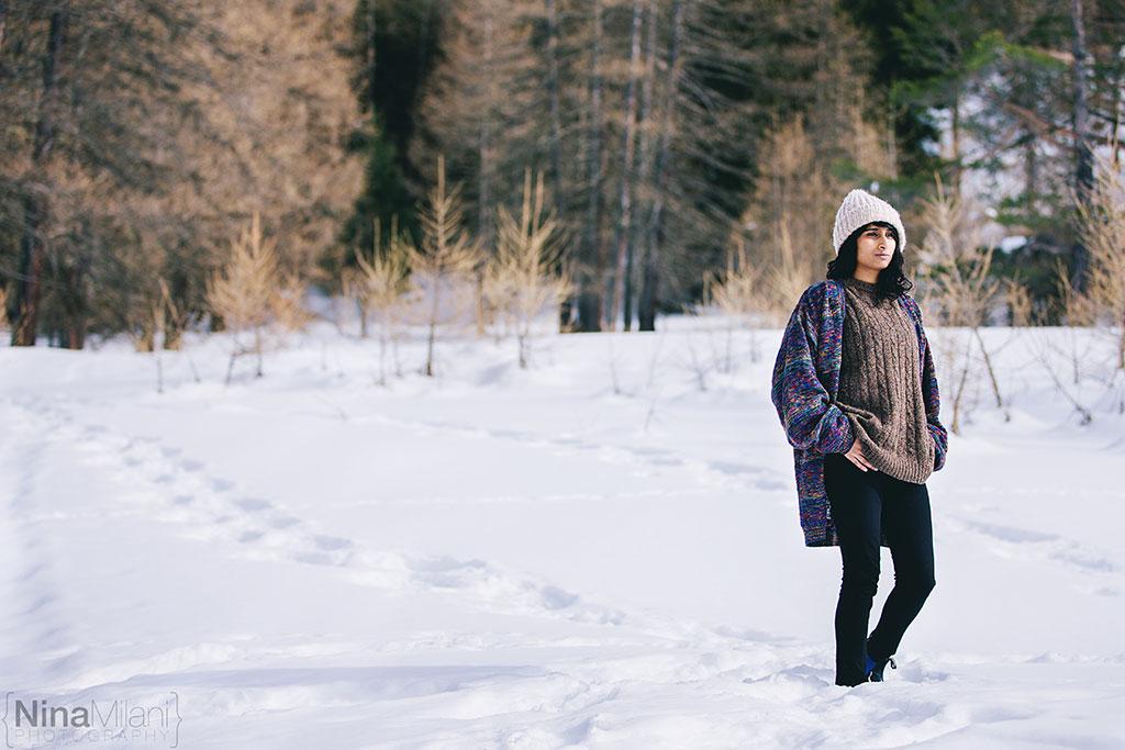 fotografo ritratti torino italy sauze d'oulx snow neve nina milani photography portrait fashion flower garland (1)