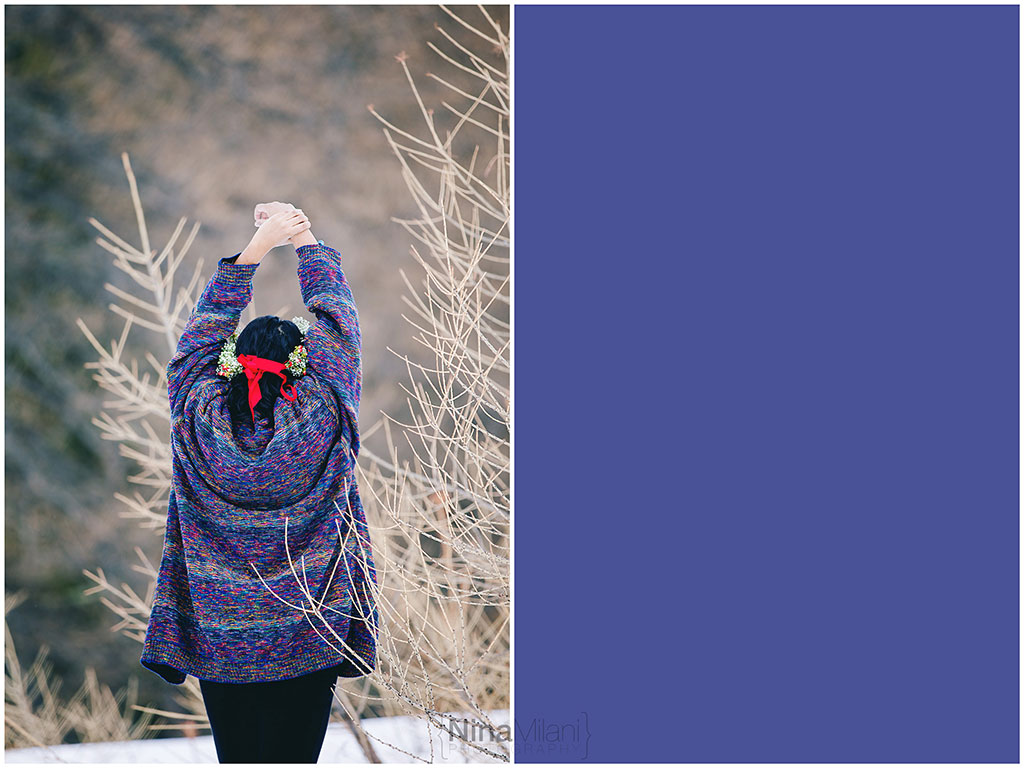 fotografo ritratti torino italy sauze d'oulx snow neve nina milani photography portrait fashion flower garland (10)