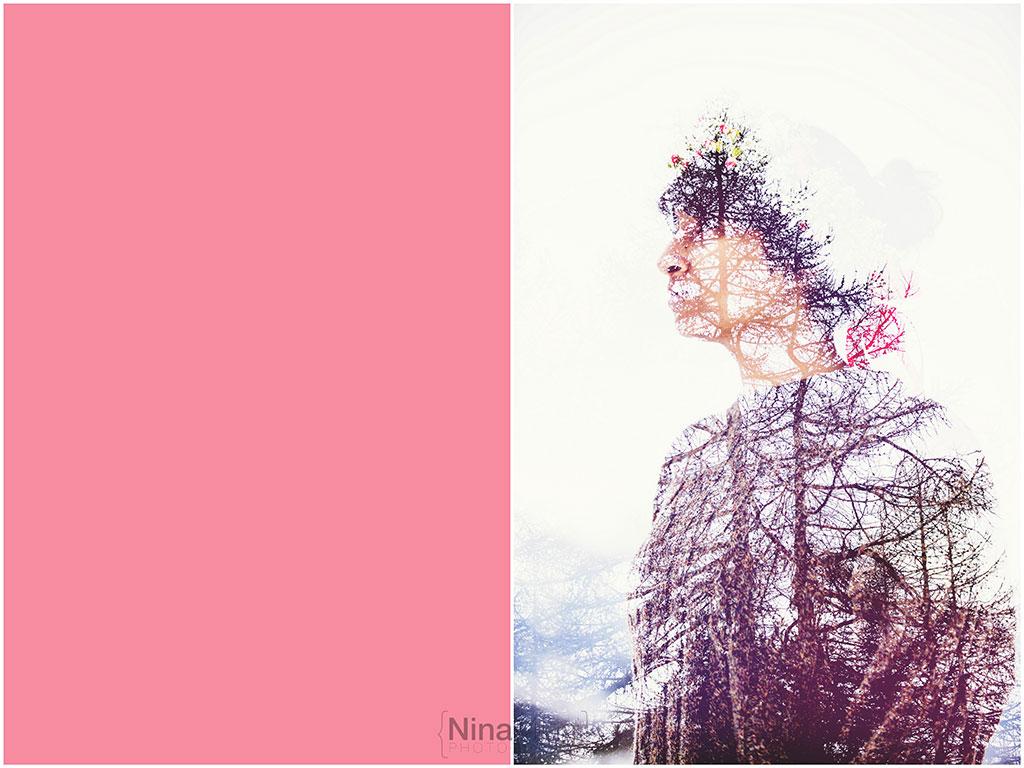 fotografo ritratti torino italy sauze d'oulx snow neve nina milani photography portrait fashion flower garland (2)