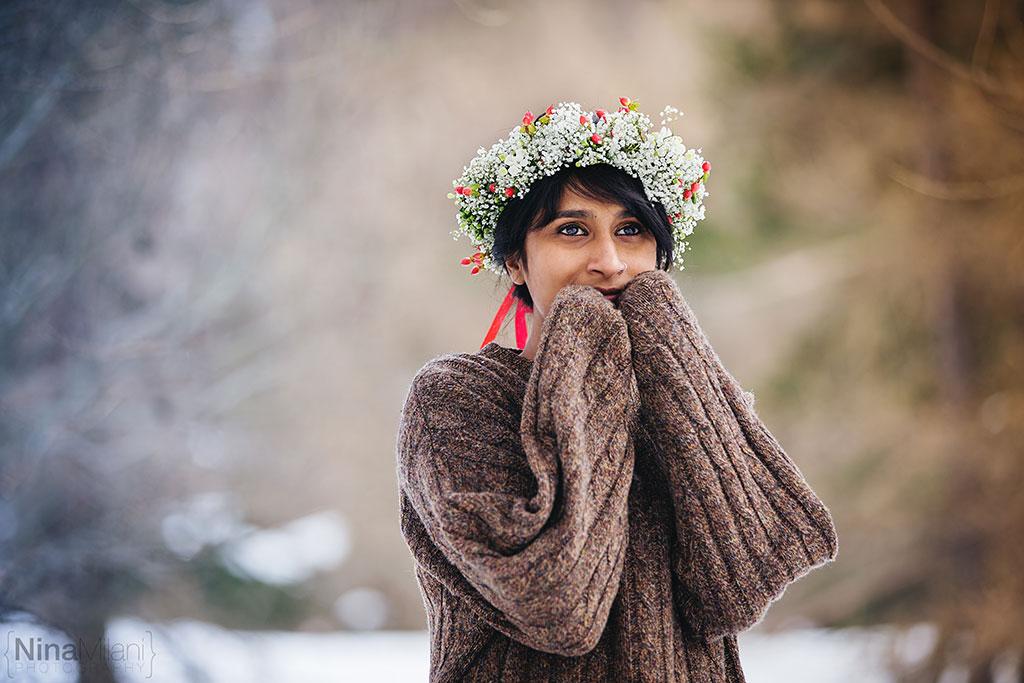fotografo ritratti torino italy sauze d'oulx snow neve nina milani photography portrait fashion flower garland (3)